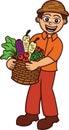 Farmer carrying a full basket of vegetables