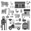 Farmer character man agriculture monochrome profession rural gardener farm animals vector illustration.