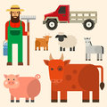 Farmer character man agriculture person profession rural gardener farm animals vector illustration. Royalty Free Stock Photo