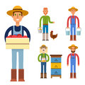 Farmer character man agriculture person profession rural gardener worker people vector illustration.