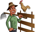 Farmer and cock Royalty Free Stock Images