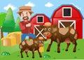 Farmer and cows on the farm