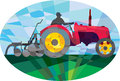 Farmer Driving Vintage Farm Tractor Oval Low Polygon Royalty Free Stock Photo