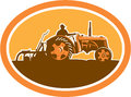 Farmer driving vintage farm tractor oval retro illustration of a riding plowing field sideview set inside an done in style Royalty Free Stock Photography