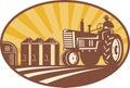 Farmer Driving Vintage Tractor Retro Woodcut Royalty Free Stock Photo