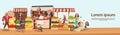 Farmer Family Sell Harvest Products Grocery On Eco Farm Organic Market Seasonal Sale