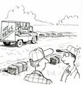 Farmer farmers are shocked and happy to see a hot meals truck in their field Royalty Free Stock Images