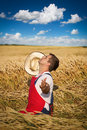 Farmer in field the golden wheat Royalty Free Stock Photography
