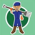Farmer with Garden Fork Circle Background Cartoon