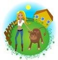 Farmer girl Royalty Free Stock Photography