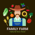 Farmer and harvest natural eco food: farm agriculture logo
