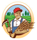 Farmer harvest the wheat Royalty Free Stock Photo