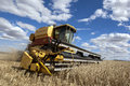 A farmer harvests a broadacre paddock of wheat. Royalty Free Stock Photo