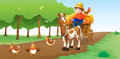 A farmer illustration of with animals Stock Photography