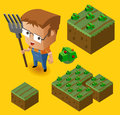 Farmer kid and his farm isometric vector illustration Royalty Free Stock Photos