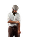 Farmer of the late nineteenth century shorten the sleeves on white background Royalty Free Stock Photography