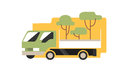 Farmer pickup truck with young trees for gardening, flat style vector icon Royalty Free Stock Photo