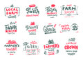 Farmer s Market, organic food, milk and eggs badges set. Fresh and Local product logo designs. Typographic eco farm Royalty Free Stock Photo