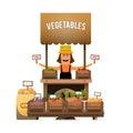 A farmer sells fresh vegetables from his garden. Vector illustra