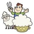 Farmer sheaving wool from sheep
