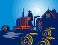 Farmer tractor hay bales barn Royalty Free Stock Photo