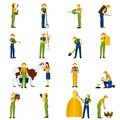 Farmer at work flat icons set