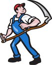 Farmer worker holding scythe cartoon illustration of a farm facing front on isolated white background done in style Royalty Free Stock Images
