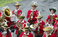 Farmers band st lorenzen from tyrol at the festival procession in celebration of years of the in traditional costumes maria Royalty Free Stock Photo