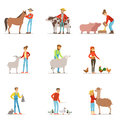 Farmers breeding livestock. Farm profession worker people, farm animals. Set of colorful cartoon detailed vector