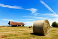 Farmers field with hay bales after cropping Royalty Free Stock Photos
