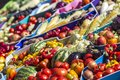 Farmers fruit market with various colorful fresh fruits and vegetables Royalty Free Stock Photo