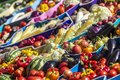 Farmers fruit market with various colorful fresh fruits and vege Royalty Free Stock Photo