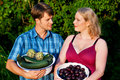 Farmers with fruit and vegetables Stock Photo