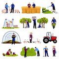 Farmers Gardeners Flat Icons Collection Royalty Free Stock Photo