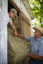 Farmers loading hay into barn load square bales shed from trailer Stock Photos