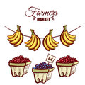 Farmers Market Bananas Berries Royalty Free Stock Photo