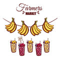 Farmers Market Berries Bananas Royalty Free Stock Photo