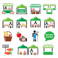 Farmers market, food market with fresh local produce icons set Royalty Free Stock Photo
