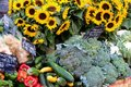 Farmers market France with vegetables and sunflowers. Royalty Free Stock Photo