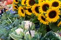 Farmers market in France with vegetables and sunflowers. Royalty Free Stock Photo
