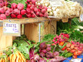 Farmers market fresh vegetables at a Stock Image
