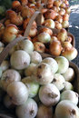 Farmers market onion baskets of onions for sale at a stand Royalty Free Stock Photography