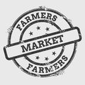 Farmers market rubber stamp isolated on white.