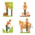 Farmers using agricultural tools. Set farmer vector illustration