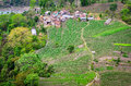 Farmers village and fields in himalayas nepal Stock Images