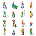 Farmers At Work Isometric Icons Set Royalty Free Stock Photo