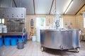Farmhouse cheese manufacture interior of an artisanal Royalty Free Stock Photo