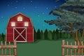Farmhouse on the farm at nighttime Royalty Free Stock Photo