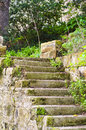 Farmhouse stairs leading to the outdoor garden of an old Royalty Free Stock Photography