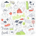 Farming Freehand Doodle with Natural Dairy Products. Farm Hand Drawn Elements Set